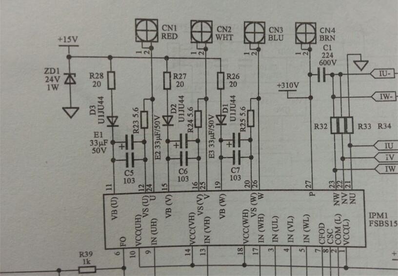 一台海信50/97直流变频柜机,开机内机有风,外机风机转动压缩机没反应,不制冷。  拆开外机观察主板上的3个led显示为闪灭闪,含义为直流压机失步,驱动模块是集成了pfc和桥堆的那种通用双模块,这种模块目前的使用量很大,肯定是将来空调维修的重点。  拆下模块,用自制的15和5伏直流电源测试,发现ipm的一个15伏供电脚电压异常。逐个查相关元件发现为模块自举电路供电的一个20欧贴片R28已开路(这种贴片真容易坏)。同样用一20欧的色环电阻代替焊在板子上,装机后故障灯不再闪烁,制冷正常故障排除。  时间仓促,